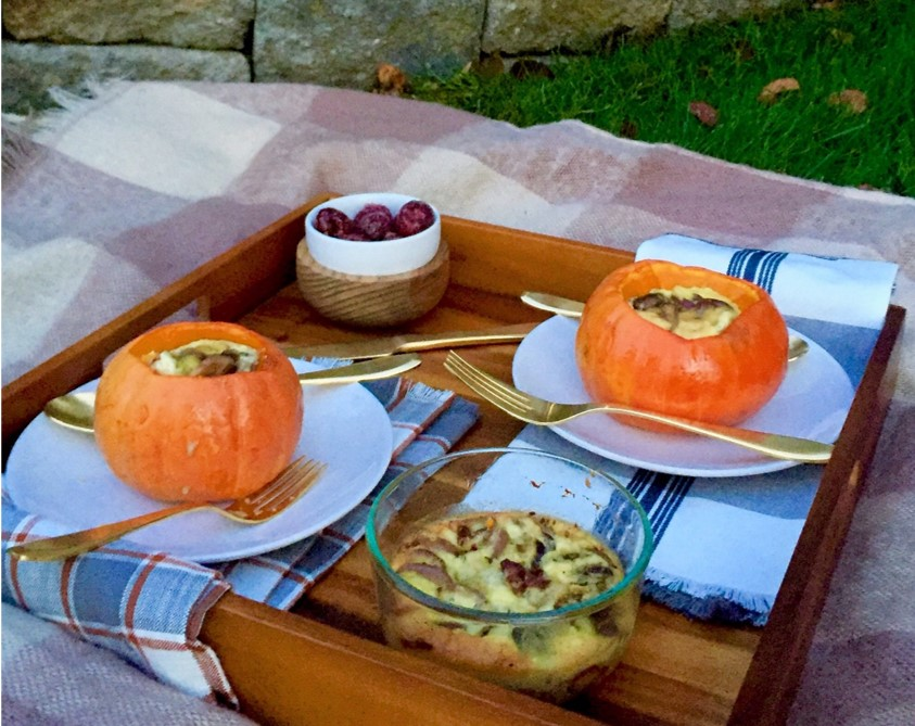 The Brunchkin': Caramelized Onion & Mushroom Quiche in a Roasted Pumpkin
