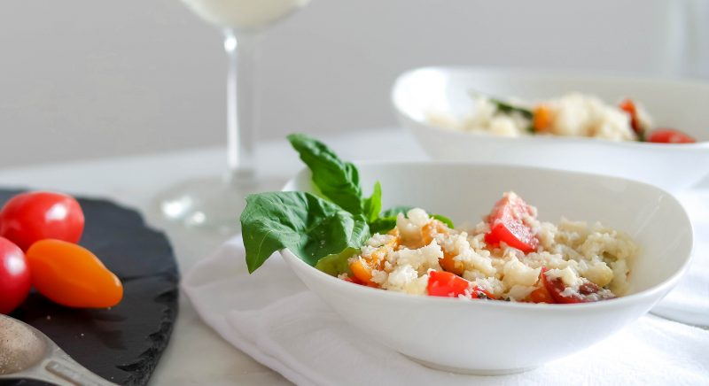 Cauliflower Rice Risotto with Fresh Tomatoes & Basil