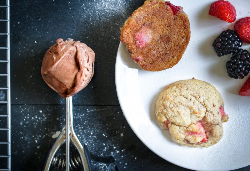 Strawberry Almond Cookies & Ice Cream Sammies