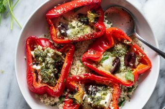 Mediterranean Roasted Red Peppers & Pesto Cauliflower Rice {Gluten Free & Keto Friendly}