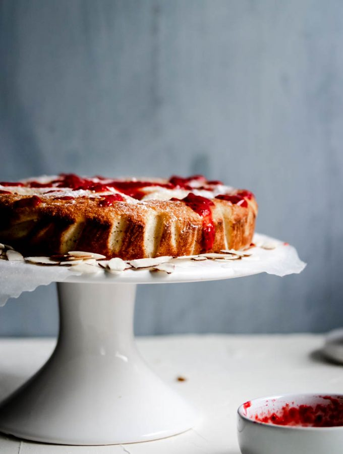 Low Carb Raspberry Almond Ricotta Cake